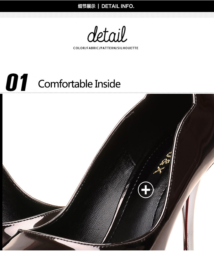 New Fashion Pointed Toe Patent PU Leather Slip On Thin High-Heeled WoMen Pumps