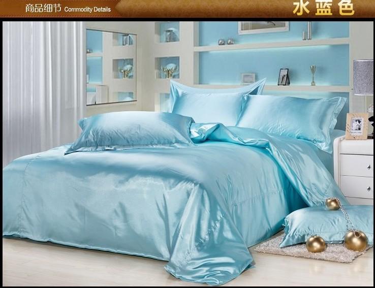 Luxe aqua bleu soie du mûrier ensemble de literie king size reine pleine double housse de couette couette lit drap de lin satin draps couvre-lits(China (Mainland))