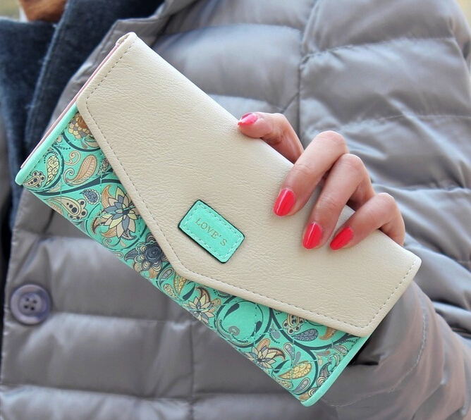 Fashion Flower Women Wallet 5Colors Flower Long Wallets New Popular Portable Change Purse Wallet Delicate Casual Lady Cash Purse(China (Mainland))