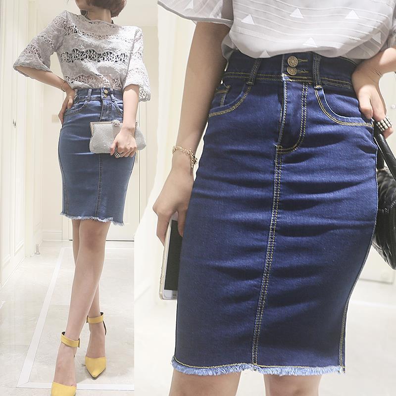 Women's Skirt Summer Fashion High Waist Denim Pencil Skirt Vintage Tutu Midi Skirts Women Slim OL Elegant Ladies Skirt L1026(China (Mainland))