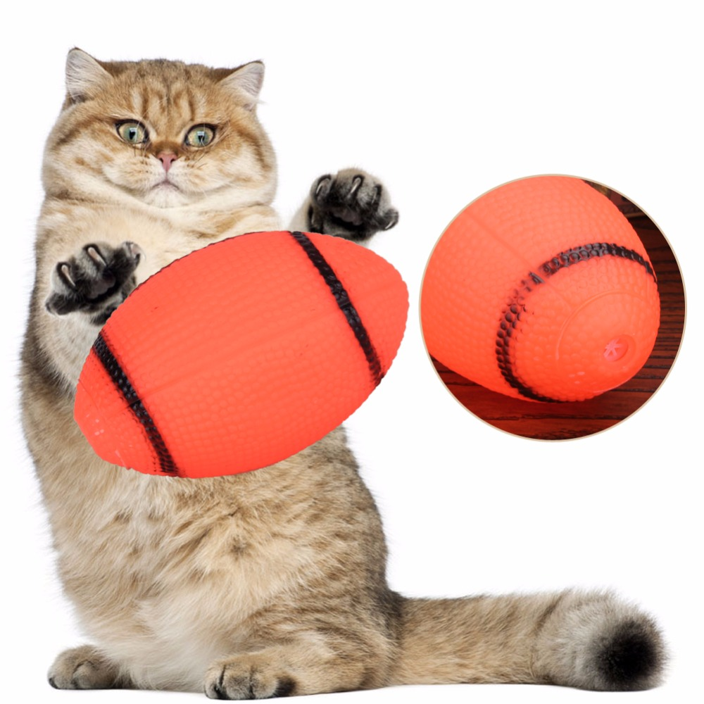 Pet Dog Squeaky Toys Soft Rubber Squeaker Rugby Ball Chewing Toy Funny Gift For Cat Dog Pet Supplies(China (Mainland))