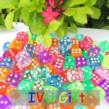 100pcs 14MM More 10 colors Dice Transparent 1-6 automatic game KTV mahjong machine dice IVU(China (Mainland))