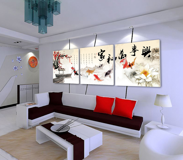 Popular Traditional Chinese Nine Fish Decorative Canvas