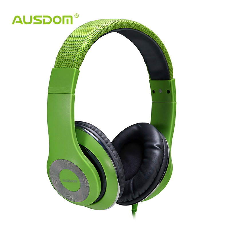 Ausdom F01 Over-Ear Wired Stereo Earphones/ Headphones for PC MP3 MP4 iPod iPhone iPad Tablet (green)(China (Mainland))