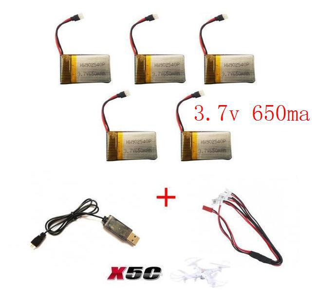 x5c x5sc x5sw 2.4G RC quadcopter rc drone upgrade battery 3.7v 650mah Li-po battery with USB charger cable free shipping(China (Mainland))