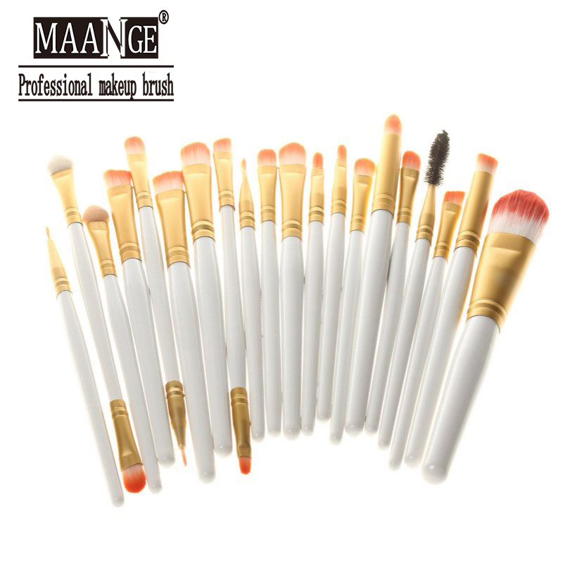 20 Pcs Make Up Powder Foundation Eyeshadow Eyeliner Lip Brush Maquiagem White Professional Cosmetic Makeup Brushes Set CCZ064(China (Mainland))