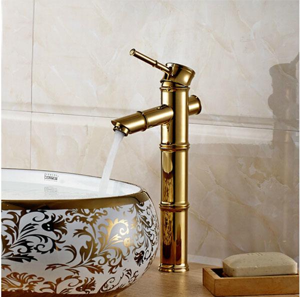 Фотография Deck Mount Bamboo Shape Waterfall Basin Faucet Single Handle Golden Lavatory Mixer Taps
