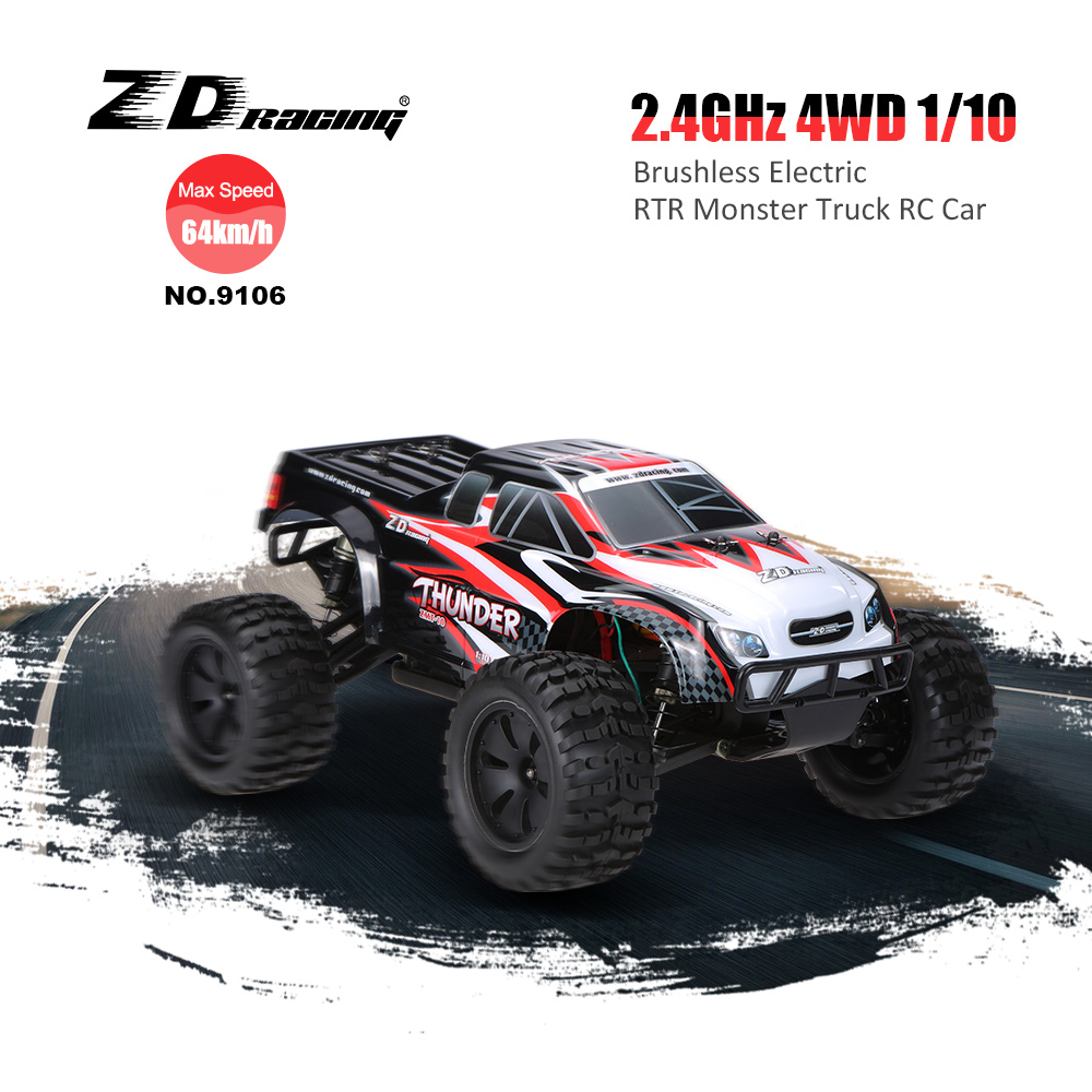 Original ZD Racing NO.9106 Thunder ZMT-10 2.4GHz 4WD 1/10 Scale RTR Brushless Electric Monster RC Car(China (Mainland))