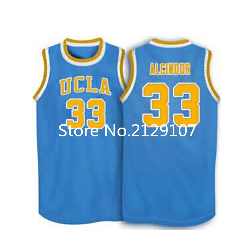 #33 Lew Alcindor UCLA Bruins College Basketball Jersey Throwback Blue, Custom any size, Name and Number Stitched Free shipping(China (Mainland))