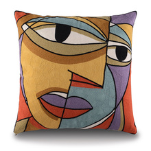 Picasso Style Embroidered Cushion Cover 45cm