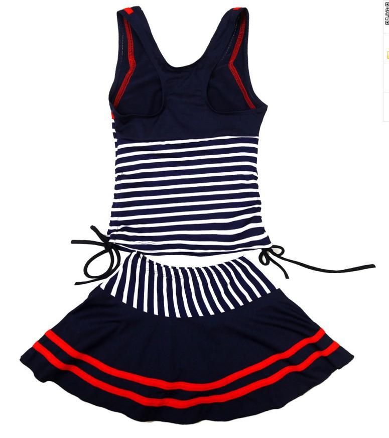 2016 New Fashion Navy Blue Stripe Girls Cute Bikini Swimwear Summer Skirt Swimsuit Child 8-14 Years Old(China (Mainland))