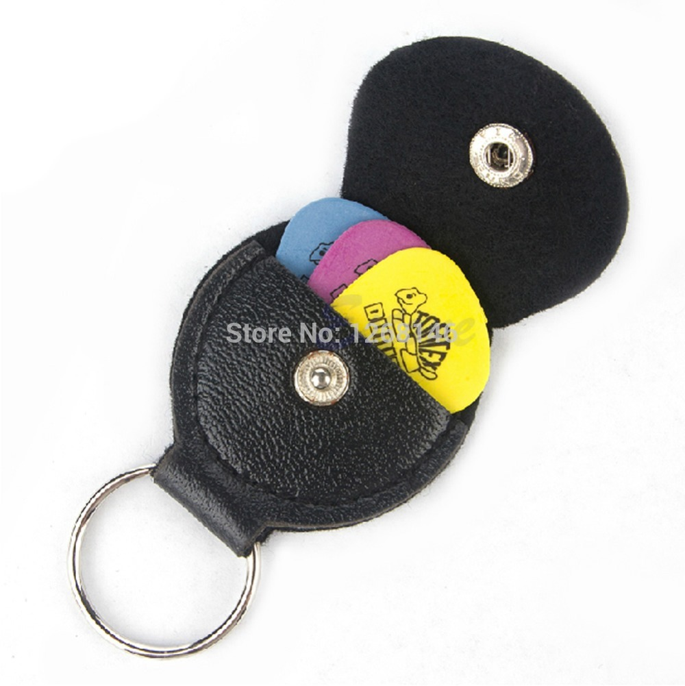 Free Shipping Black Faux Leather Key Chain Style Guitar Bass Picks Holder Plectrums Case Bag(China (Mainland))