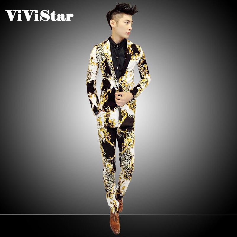 2014 New Golden Hook Flower Leopard Men Suits Slim Fashion Casual Brand Floral Blazer Suits (Jacket+Pants+Vest)F0003(China (Mainland))