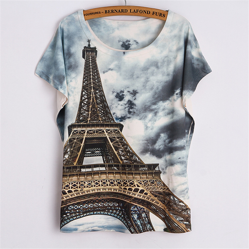 New Fashion Summer Style T Shirt Women 2016 Cool Eiffel Tower 3d Printed T Shirt O-neck Loose Batwing Sleeve Casual Summer Tops(China (Mainland))