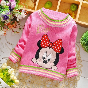 Wholesale 6pcs/lot Upscale Warm girls kids sweaters girls clothes loose baby girl sweater fashion cartoon Minnie girls outerwear<br><br>Aliexpress