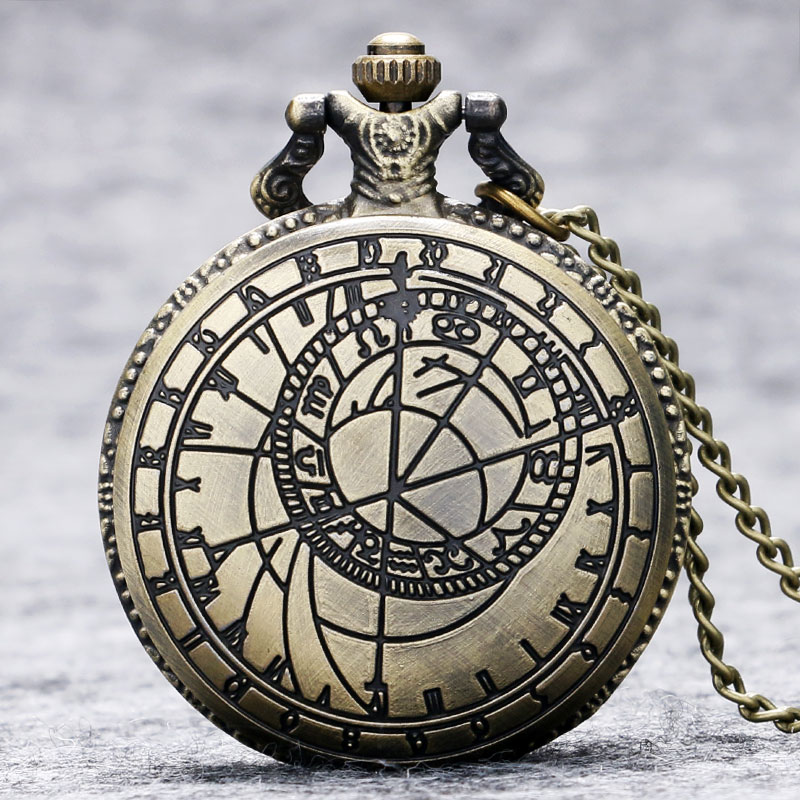 Retro Vintage Bronze Steampunk Quartz Necklace Pendant Chain Clock Pocket Watch Men Women Gifts P208 - Guangzhou Bingo Trading Co., Ltd. store