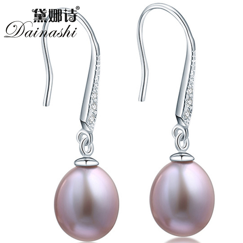 Amazing Price 925 sterling silver earrings 100% real 9-10mm AAAA freshwater pearl jewelry for women with AAA ziron 3 colors(China (Mainland))
