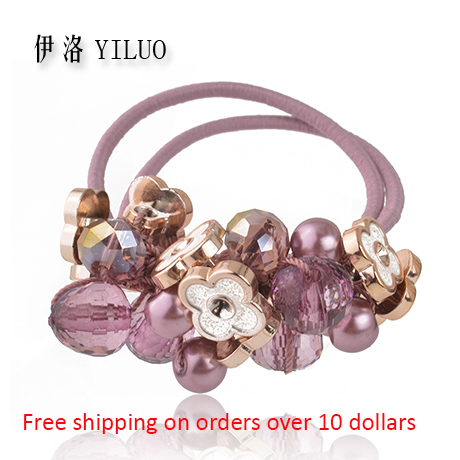 Crystal Glass Cutting Acrylic Beads Flower Elastic Band Ponytail Holder(China (Mainland))