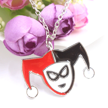 Hot Sales Batman Necklace Harley Quinn Clown Jack Lovely Pendant Silver Plated Necklace Fashion Gift Movie Jewelry(China (Mainland))