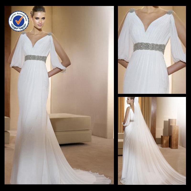 Em0149 hot sale chiffon deep v neck wedding dress beading for Wedding dress beading patterns