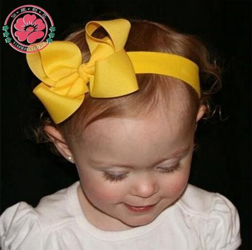 20pcs/lot Baby Girl Bows Headband Elastic Hair bands Ribbon bows Turban Bowknot Head Wrap Infant Hair Accessories 608(China (Mainland))