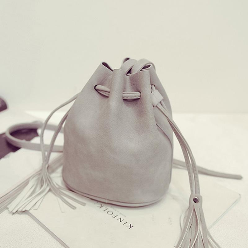 small bucket bag crossbody tassel bag ladies designer shoulder bag light gray messenger bags 2016 clutch sac a main femme(China (Mainland))