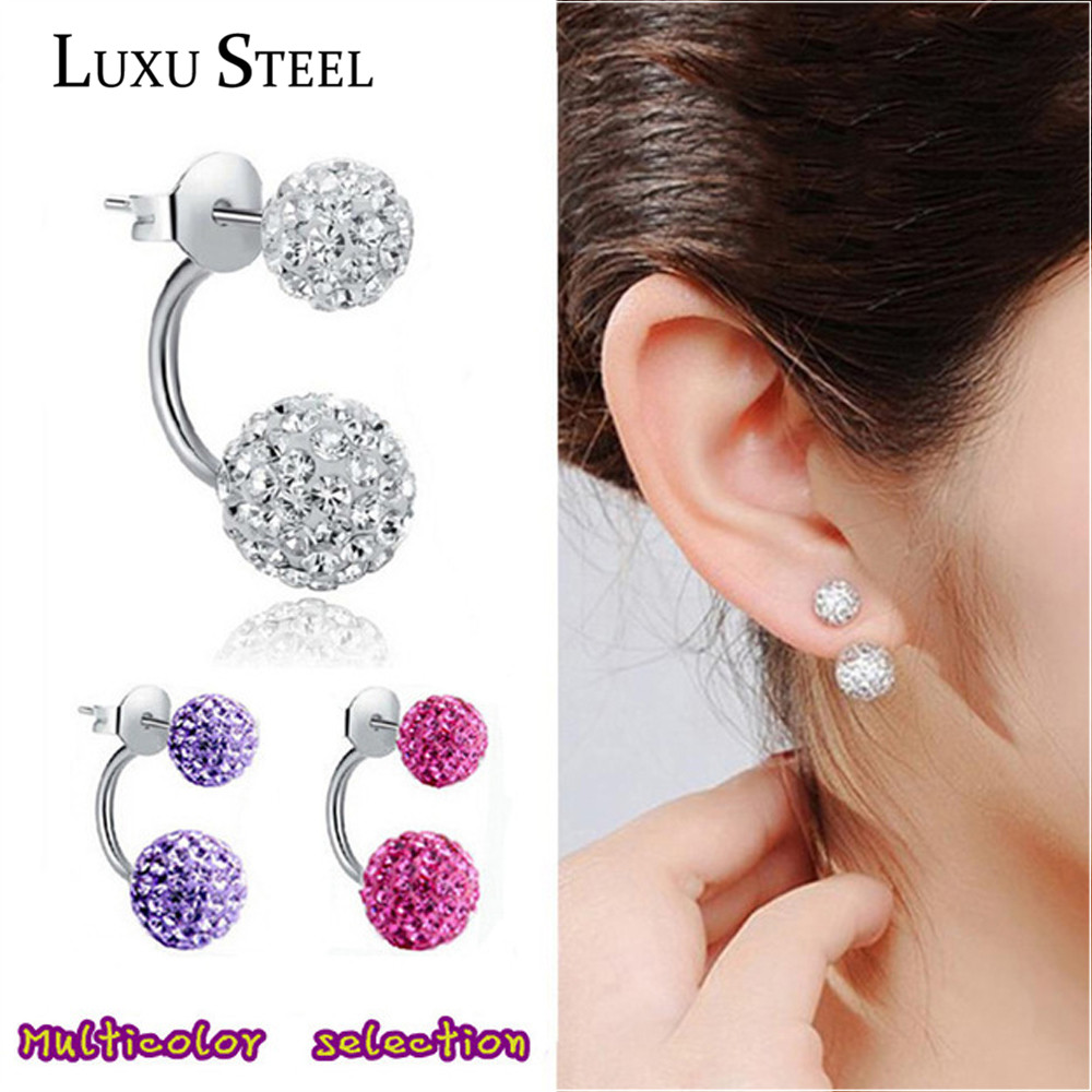 2016 New Double Side Earrings,Fashion Crystal Disco Ball Shamballa Stud Earrings For Women,Bottom Is Stainless Steel,Top Quality(China (Mainland))
