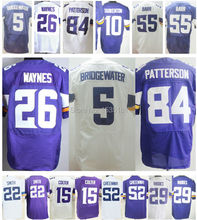 5 Teddy Bridgewater 84 Cordarrelle Patterson 22 Harrison Smith 26 Trae Waynes 55 Anthony Barr Purple White Cheap Football Jersey(China (Mainland))