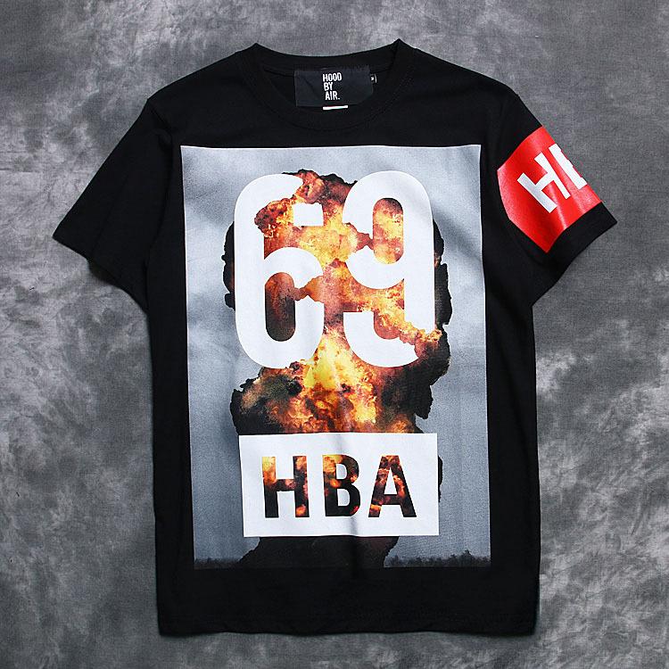 Summer style hba 2015 men streetwear cotton t shirt hba shirt 3D atomic bomb hba 69 printed t-shirt short sleeve hba tshirt(China (Mainland))