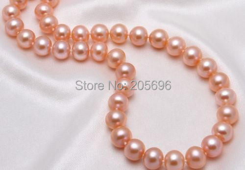 HUGE AAA 9-10MM PERFECT ROUND SOUTH SEA GENUINE PINK PEARL NECKLACE 18 inch14K - xingwang6666 store