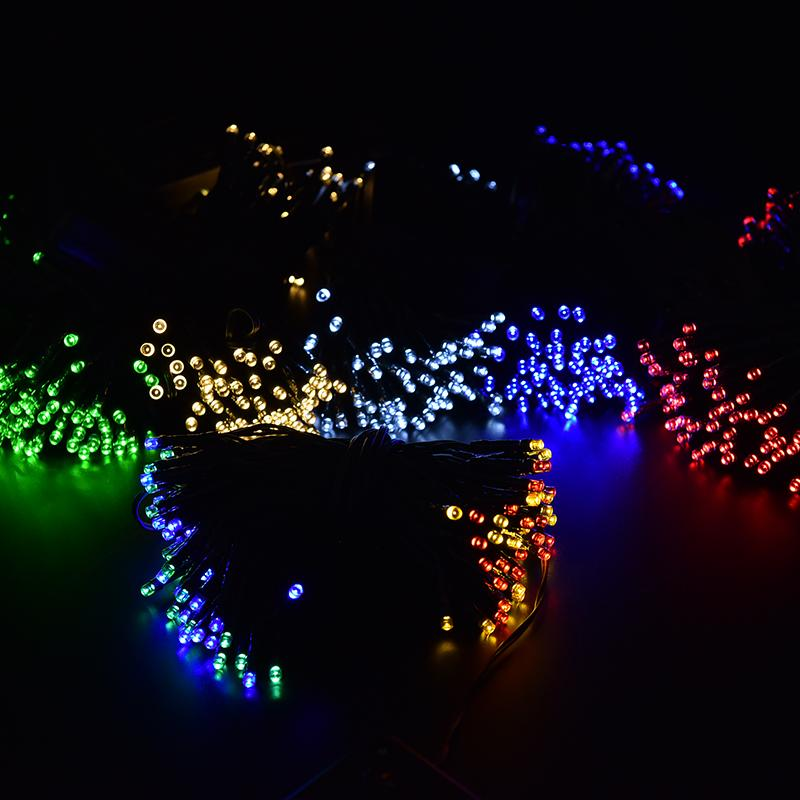 Blue Green White Yellow multicolor Christmas Solar LED String Lights 100 LEDs Solar Lamps Garden Outdoor Garland Lights Solar(China (Mainland))