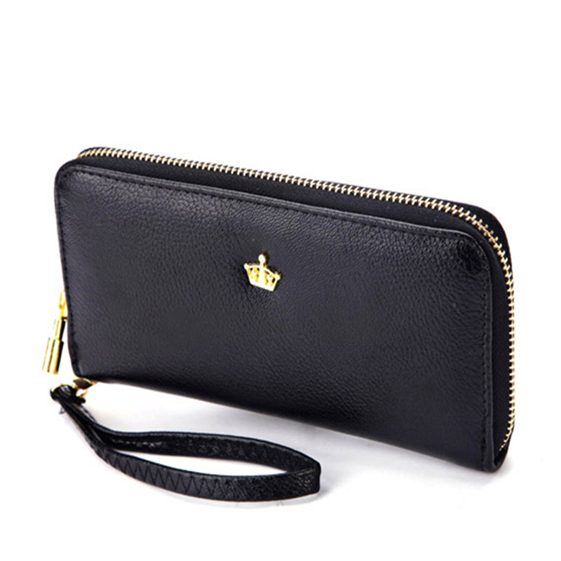 2016 New Women Ladies Wallets Soft Leather Wallet Crown Clutch Leather Bags Purse Popular Handbags With Strap Free Shipping J415(China (Mainland))