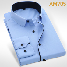 New Arrival Mens Turn-Down Collar Formal Shirts Men Long Sleeve Slim Fit Casual Shirt Mens Solid Color/Plaid  Dress Shirts(China (Mainland))