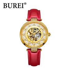 BUREI luxury brand mechanical watch woman leather bracelet waterproof sapphire mirror stainless steel automatic watches SL-15006