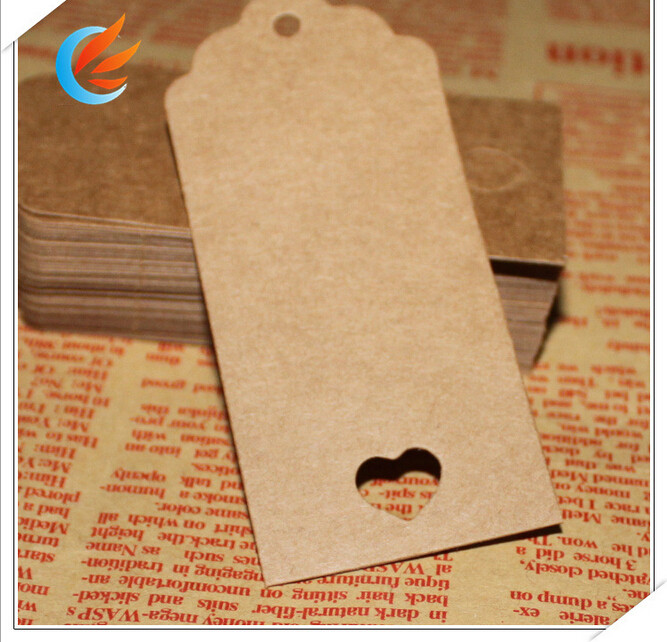100pcs Kraft Paper Tags 4.0X9.0 Favour Lolly Heart Hollow Wedding Party Gift Bag Name Label+20M string can be customized(China (Mainland))