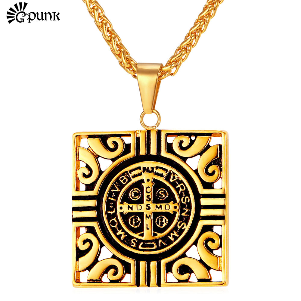 Square Totem Necklaces & Pendants For Men Stainless Steel Gold Plated Saint Benedict Medal Cross Religious Jewelry P2165G(China (Mainland))