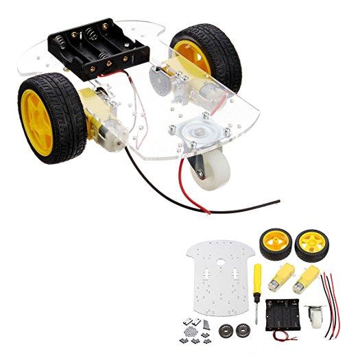 Transparent Motor Smart Robot Car Chassis Kit Speed Encoder Battery Box For Arduino DIY(China (Mainland))
