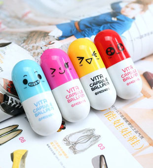 The appendtiff stationery small fresh pills retractable pen capsule pill pen ballpoint pen cartoon pen