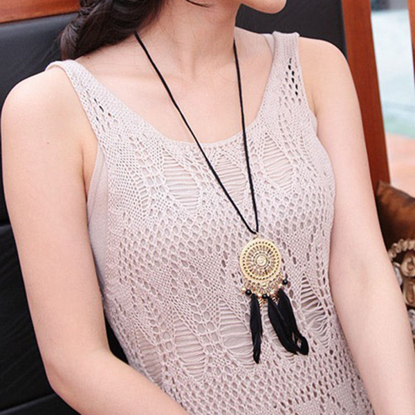 Bohemian Dream Catcher Circle Mesh Net Dreamcatcher Black Feathers Long Necklace Charm Women Jewelry