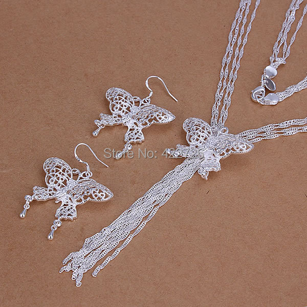 S225 , 925 silver jewelry set, fashion set Hollow Butterfly Earrings Necklace Jewelry Set - fengqin gong's store