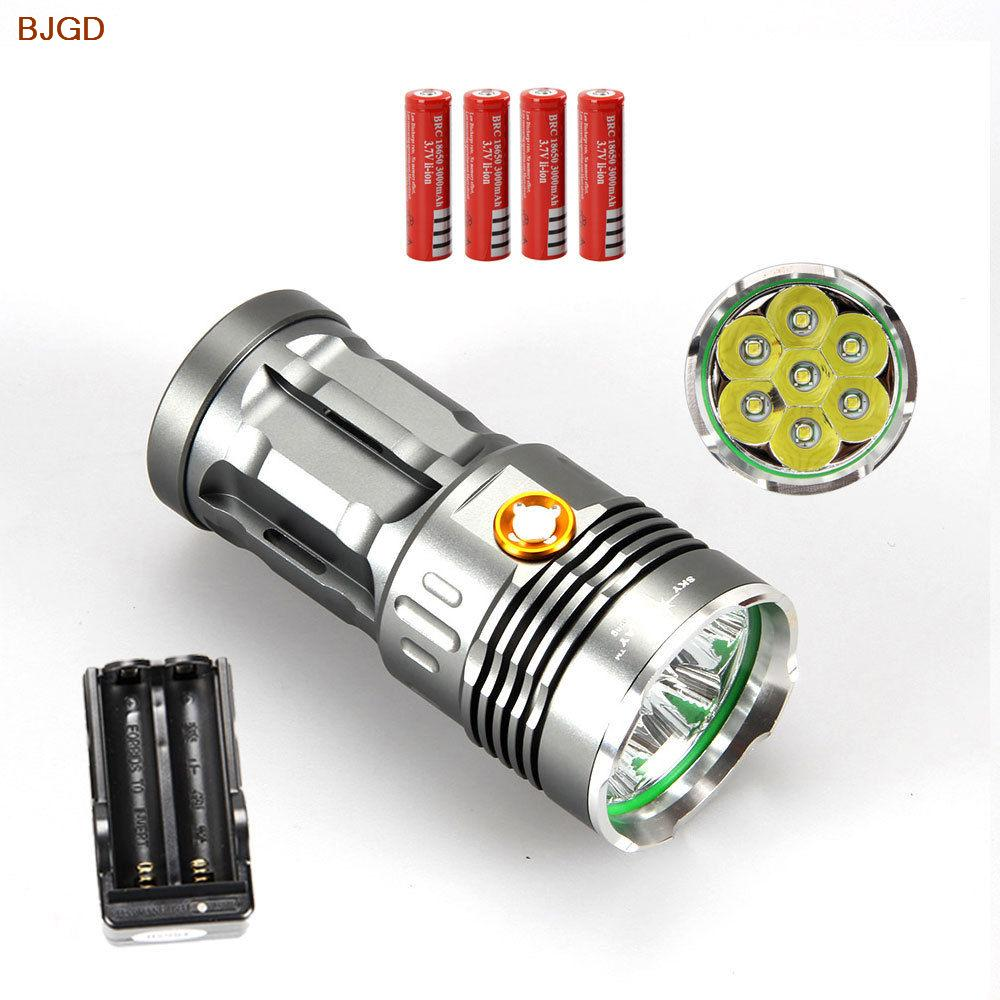 SKYRAY king Super Bright 7xCREE XML T6 LED Flashlight 9500Lm Torch Lamp Light +4X18650 3000mah Battery+Charger<br><br>Aliexpress