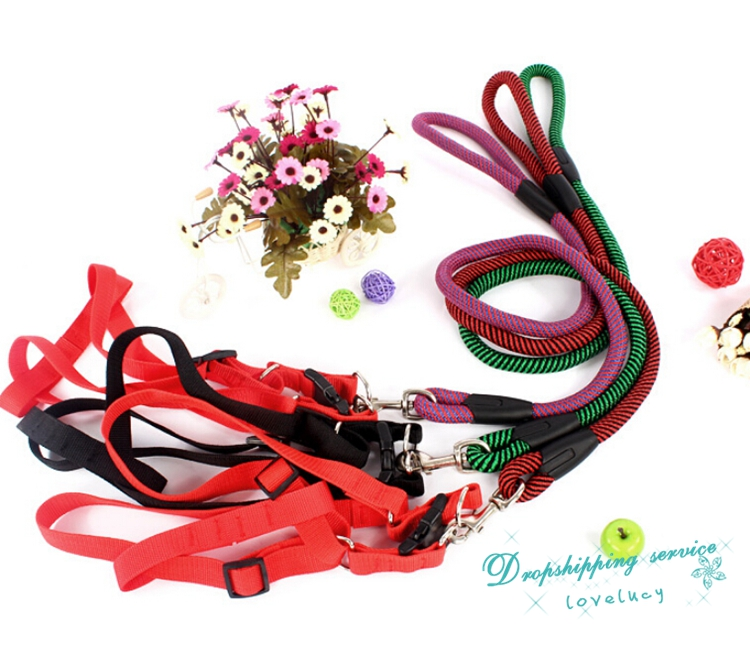3 Color Pet Dog Cat Harness Traction Belt Dog Lead Chain Strap Rope Pet Supplies Dog Training Leashes Free Shipping(China (Mainland))