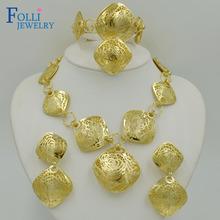 Romantic Brand Dubai Gold Plated Jewelry Set 14K Luxury Handmade Copper Necklace Costume Jewelry Set Elegant Long Dsign(China (Mainland))