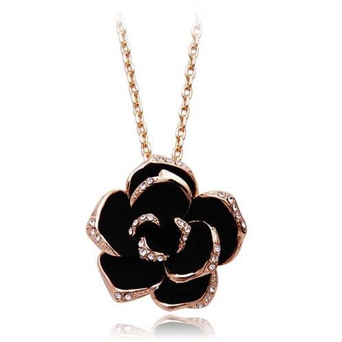 Black Enamel Rose Flower Pendant Necklace 18K Rose Gold/Platinum Plate Austrian Crystal Necklaces collar flores(China (Mainland))