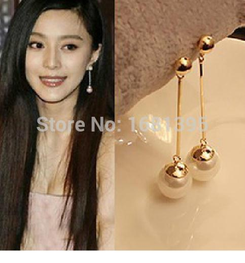 Hot Sales New Design Fashion Korea personality elegant Double simulated pearl earrings jewelry-CRYSTAL SHOP Free shipping(China (Mainland))