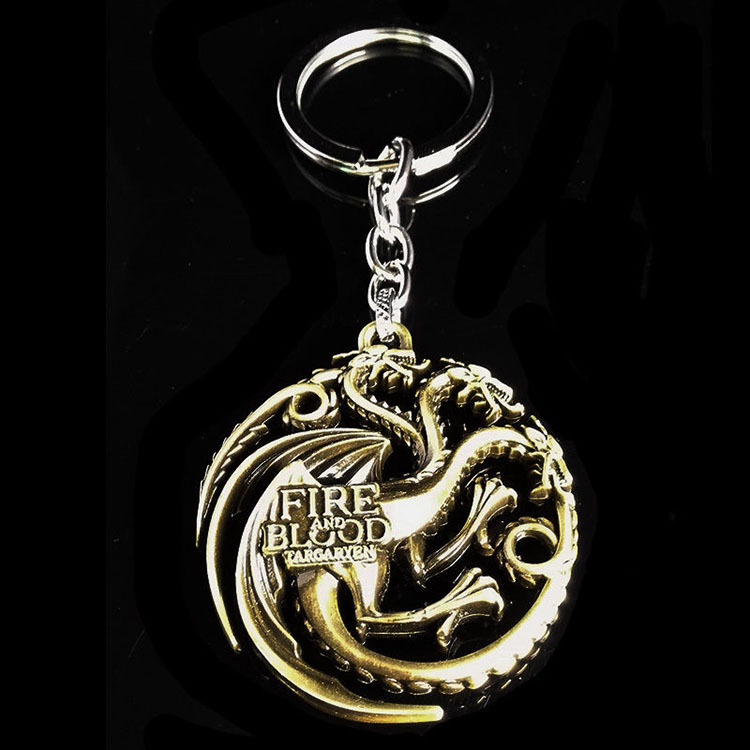HBO Game of Thrones House Targarye Fire Blood Gold Keychain Keyring Birthday Gift<br><br>Aliexpress