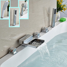 Buy Chrome Brass Widespread Waterfall Bathtub Faucet Set Three Handles Bathroom Bath Tub Mixer Filler Handshower for $91.98 in AliExpress store