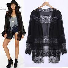 Fashion New Autumn Women's Long Sleeve Chiffon Lace Stitching Kimono Tops Stitch Cardigan Coat Tops Blouse SV22