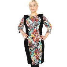 BFDADI Женские весна платья 2016 цветы цветочный принт шить женские платья осень женские свободного покроя офис платья Большой размер 7 - 3575(China (Mainland))
