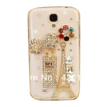 Handmade Crystal Bling Diamond Rhinestone Luxury Perfume Eiffel Tower Transparent Case Cover Skin For Samsung I9500 S4 IV